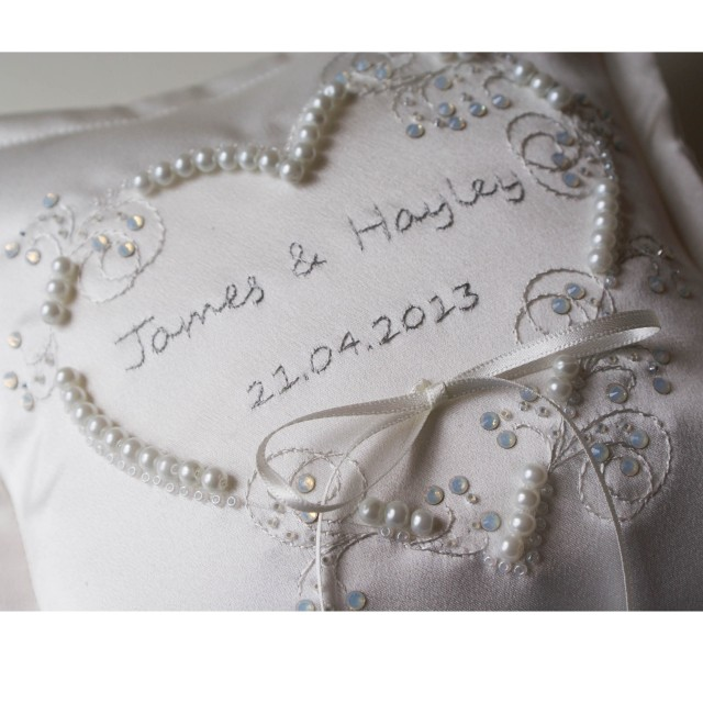 1 Personalised Applique Heart Wedding Ring Cushion - Ivory - detail - 54.99