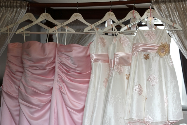 english real wedding pink bridesmaid dresses