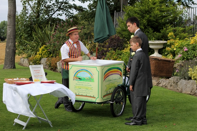 english real wedding ice cream cart