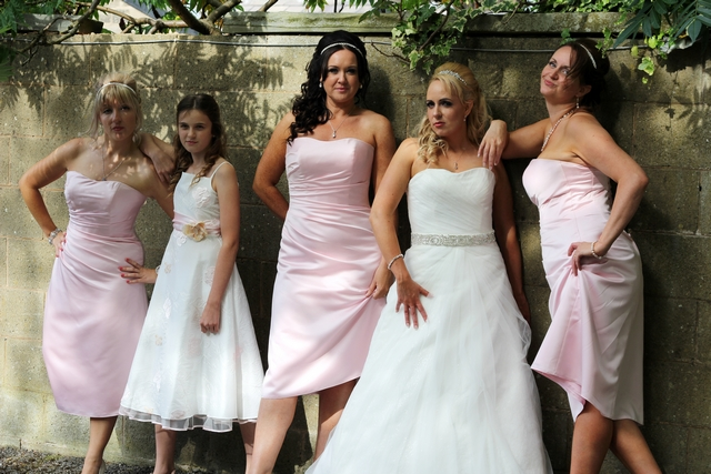 english real wedding cool bridesmaids & bride