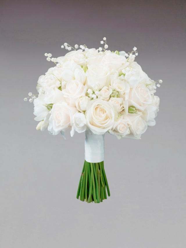 Interflora Vera Wang Wedding Collection - Romantic - Cream Rose and Freesia Bridesmaid Bouquet