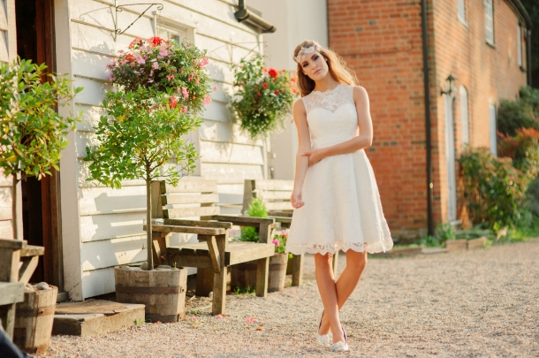 Summer Rose wedding dress, £345 available exclusively at kittyanddulcie.com Hair accessory from floandpercy.com 00278