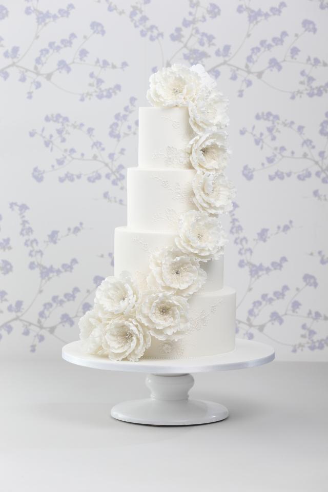 Cascading Peony Wedding Cake