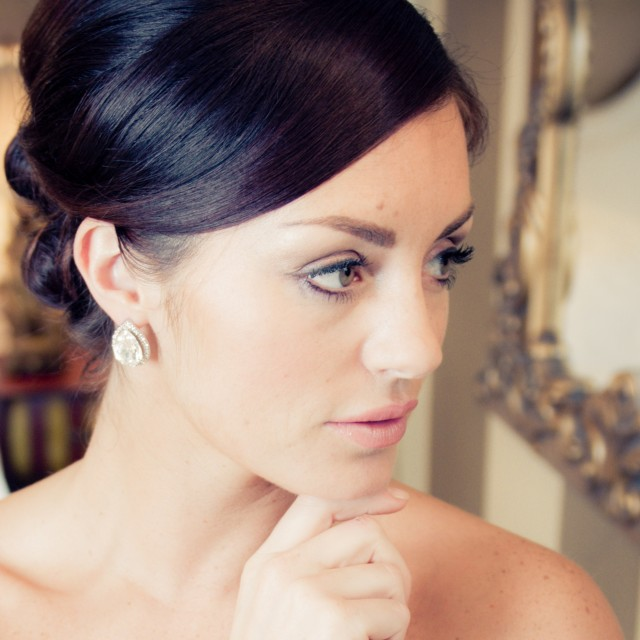 small Swarovski crystal diamante wedding earrings for bride or bridesmiads