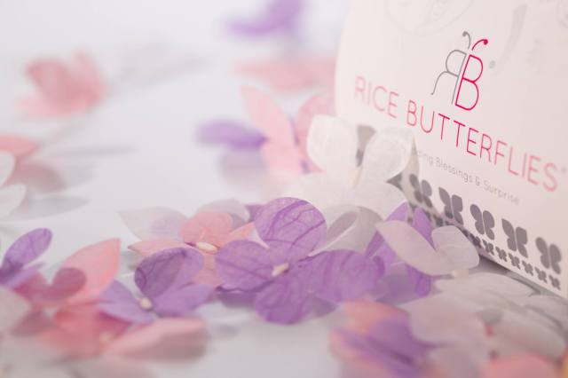 eco friendly wedding rice with butterflies www.ricebutterflies.com