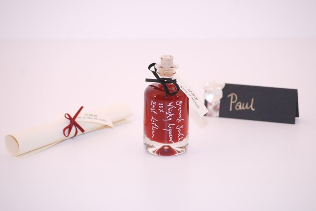 Personalised red wedding favours demijohn vodka bottles