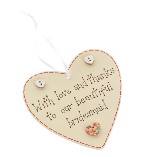 To bridesmaid wedding heart
