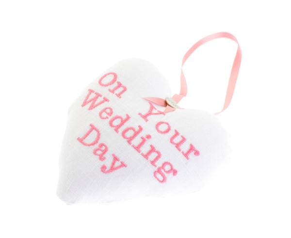 White wedding fabric heart