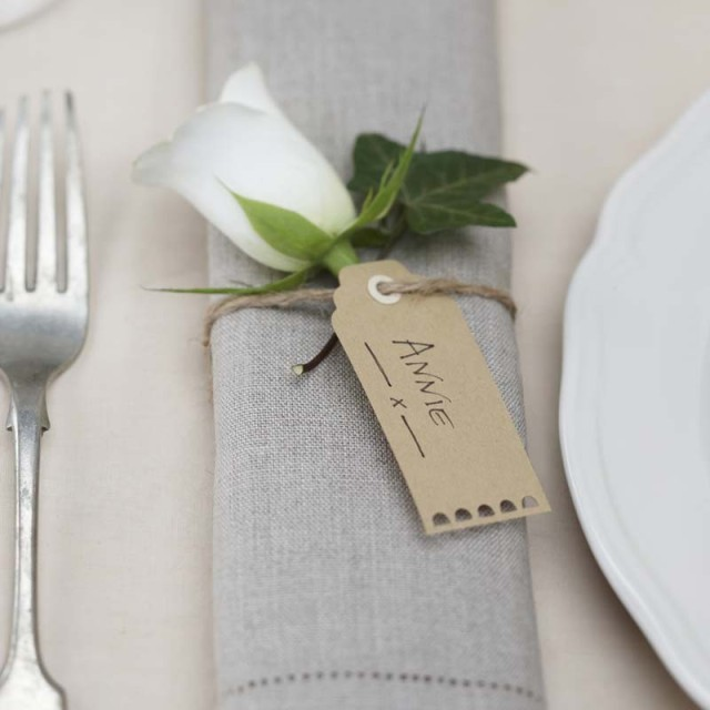brown luggage wedding tags for place settings