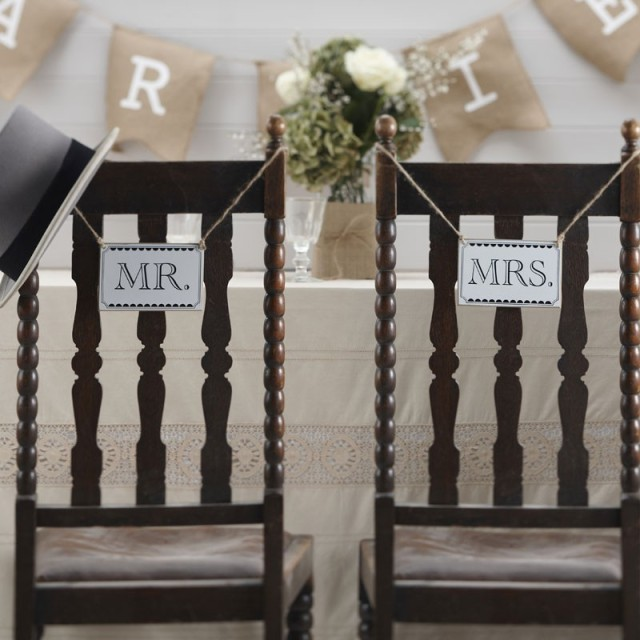 mrs and mrs wedding chair sign