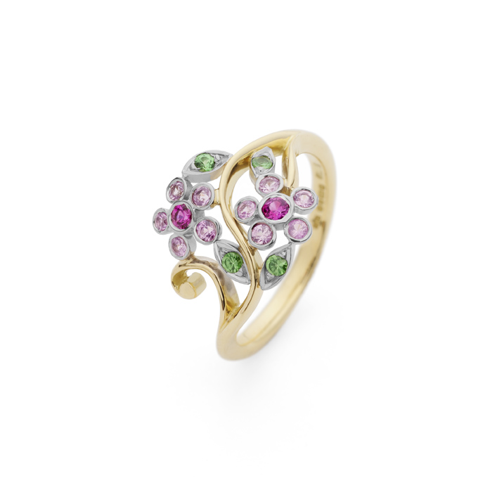 Stella Pink Double Flower Ring by Erica Sharpe UK
