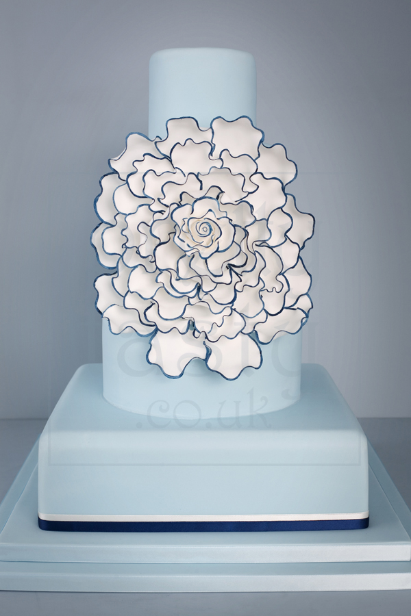 giant rose wedding cake in blue black and white - Pretty Tasty