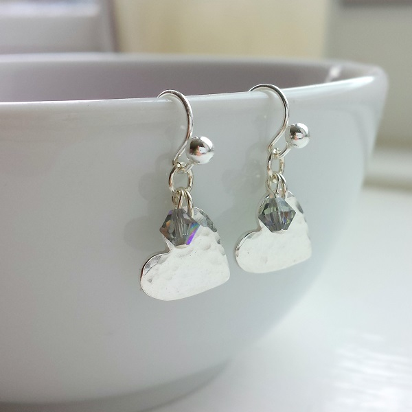 Hammered Dangle Heart Earrings