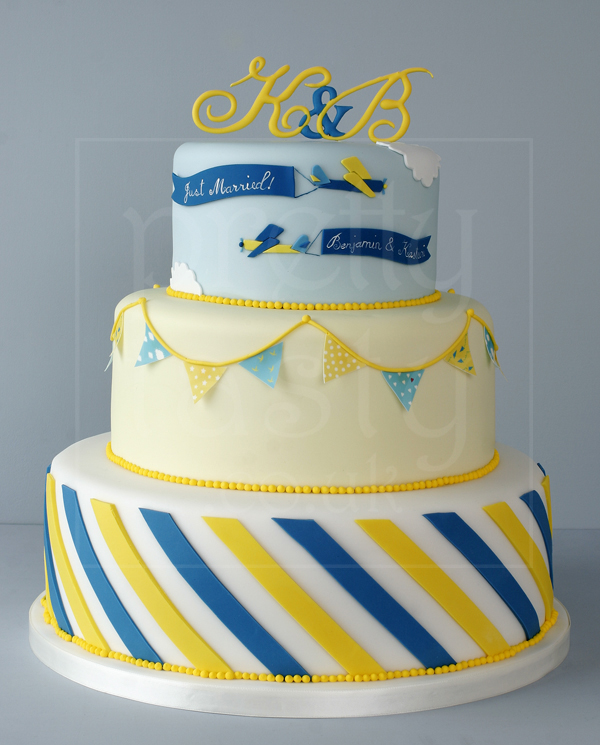 Personalised intial wedding cake in blue yellow and white - Pretty Tasty UK