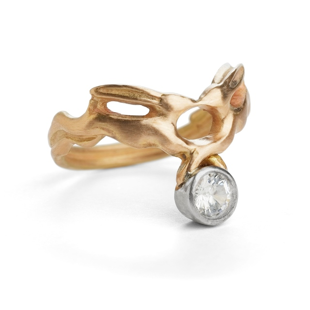 Kissing Hares Ring gold and diamond by Erica Sharpe UK