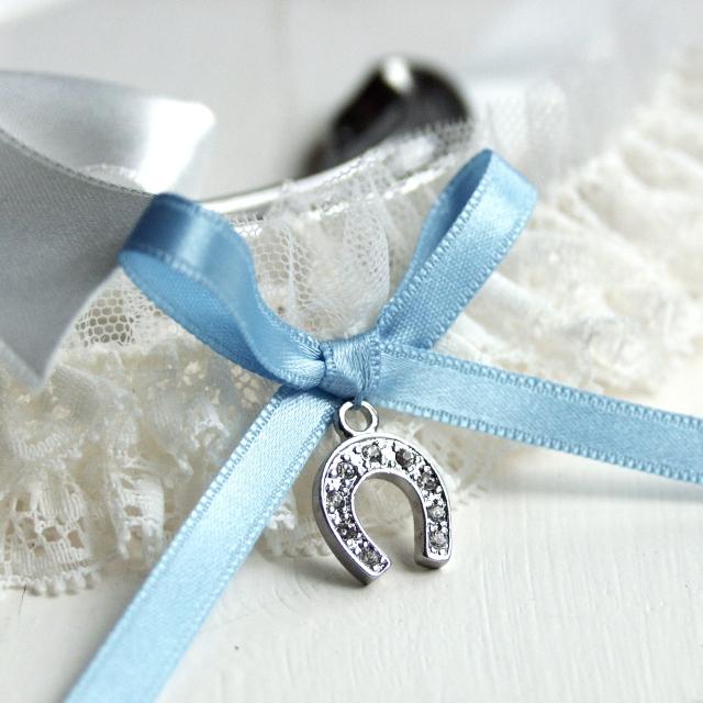 Lucky Horseshoe wedding garter something blue UK handmade
