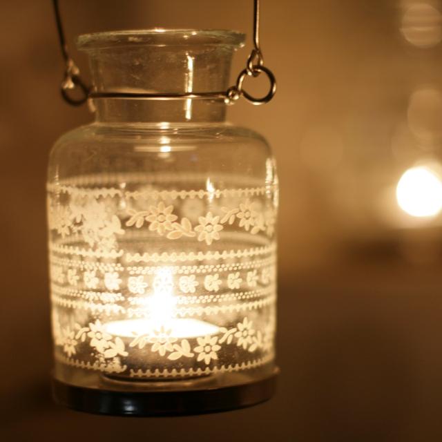 Nkuku Small Moonlight Glass Painted Lantern