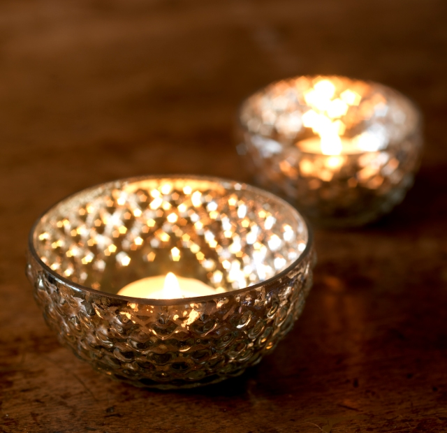 Nkuku Sumi Silver Glass Tealight Holder