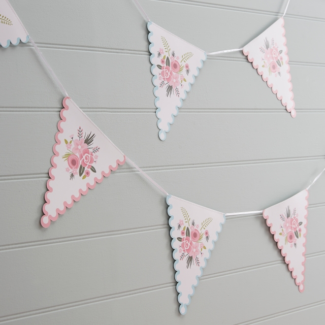 Pastel Coloured Floral Bunting