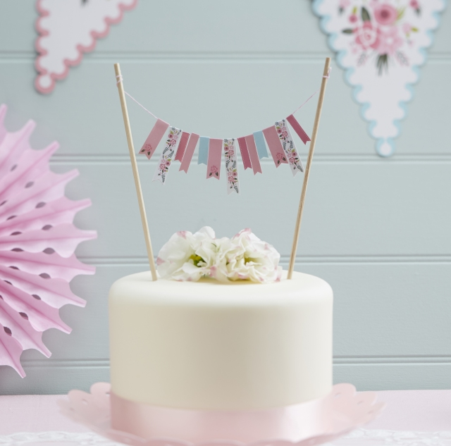 Pastel Coloured Floral Cake Bunting