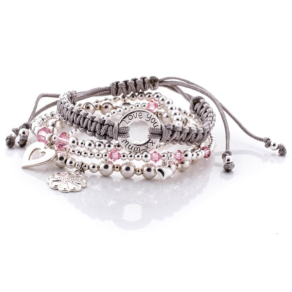Personalised Peony Bracelet Stack