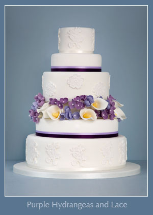 purple-hydrangeas-and-lace wedding cake by prettytasty.co.uk