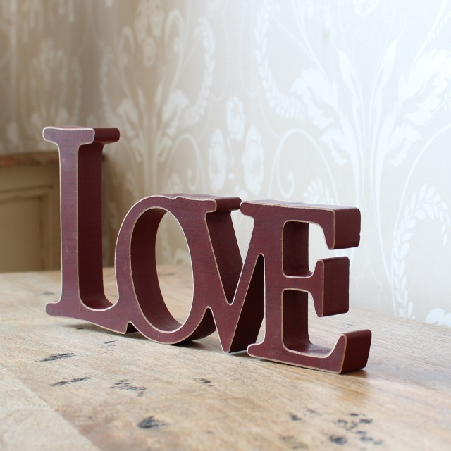Red Wooden 'LOVE' Sanding Sign