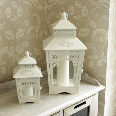 Set of 2 Vintage white lanterns