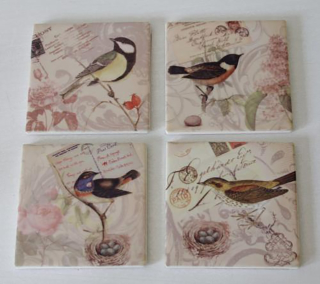 Set of 4 Ceramic Bird Coasters