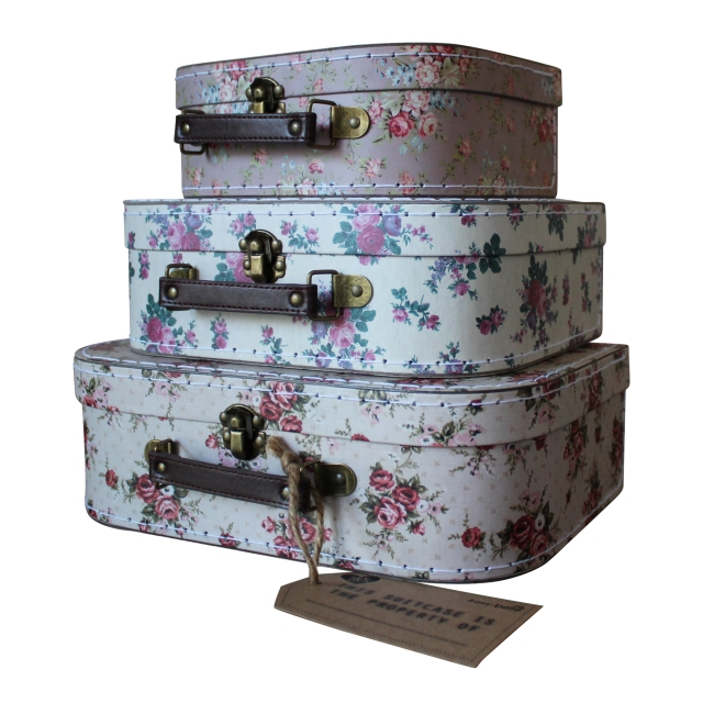 Set of Three floral Suitcases