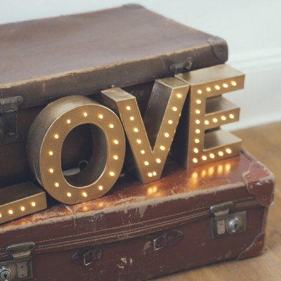 The White Bulb love wedding light sign