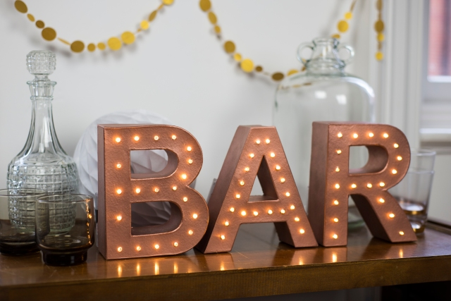 The White Bulb bar marquee wedding letter light