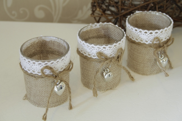 Three Hessian and Lace Candle Holders