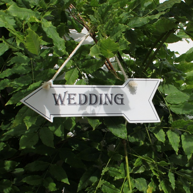 White Hanging Wedding Arrow