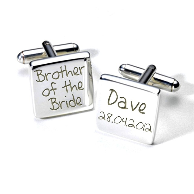 brother of the bride personalised cufflinks