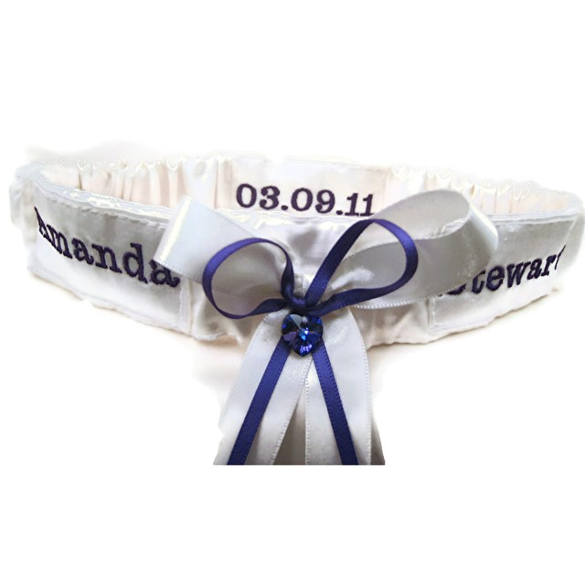 cadbury purple wedding garter Uk handmade