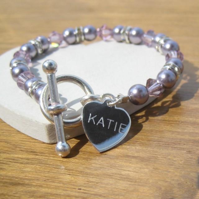 Aspire purple personalised wedding bracelet