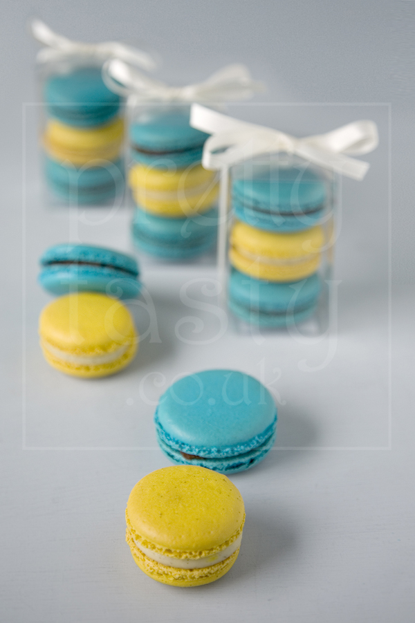 blue yellow wedding macaroon favours by pretty tasty uk