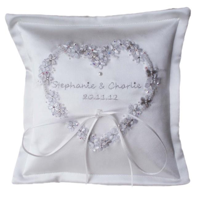 personalised wedding ring cushion UK handmade