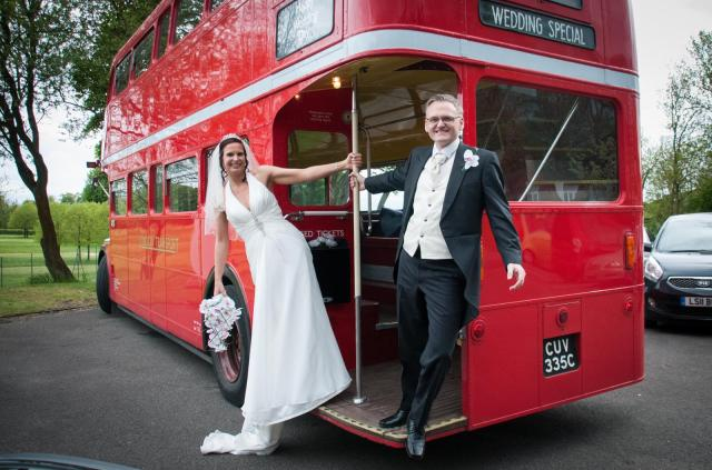 red london bus real life wedding uk bride and groom