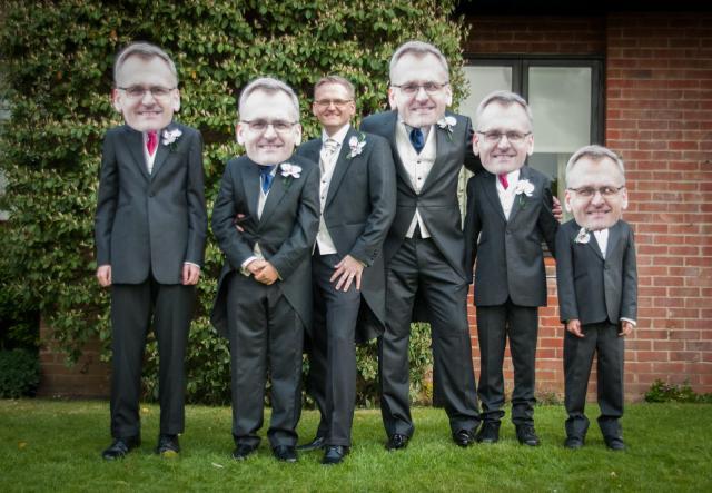 fun best men and groom wedding photos