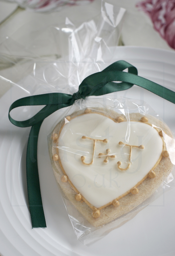 initial heart wedding favour iced biscuits by pretty tasty uk