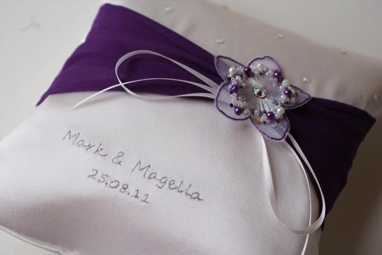 purple personalised wedding ring cushion UK handmade