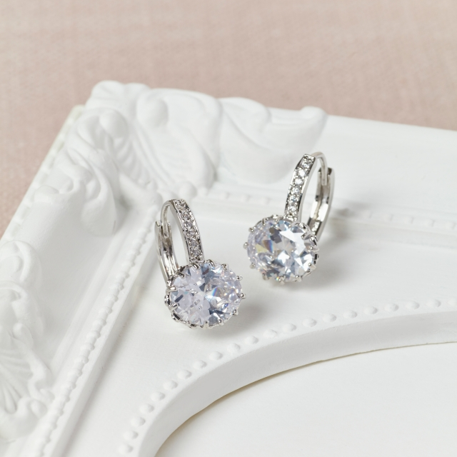 Misskukie Bridal CZ Drop Earrings