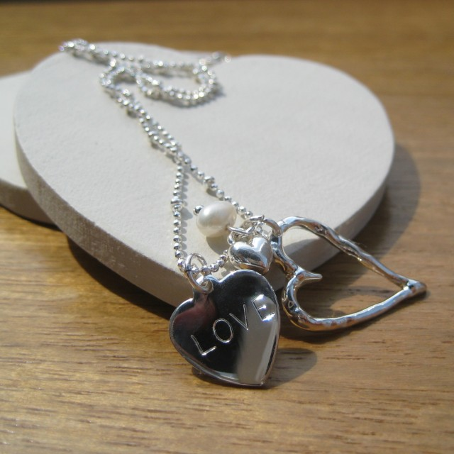 open heart personalised wedding necklace