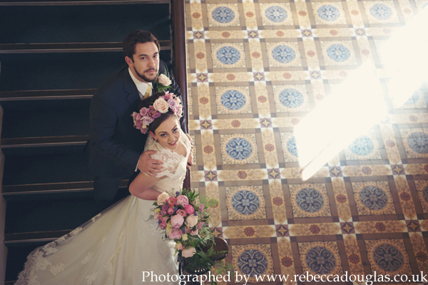 Wedding ideas inspiration Northdown House lace floral crown smoke bomb Margate Kent by Rebecca Douglas Photography010