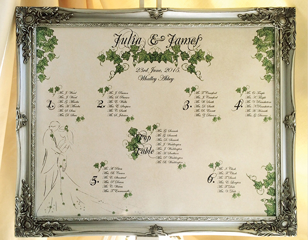 Ivy seating chart wedding stationery http://www.thefrommshoppe.com/