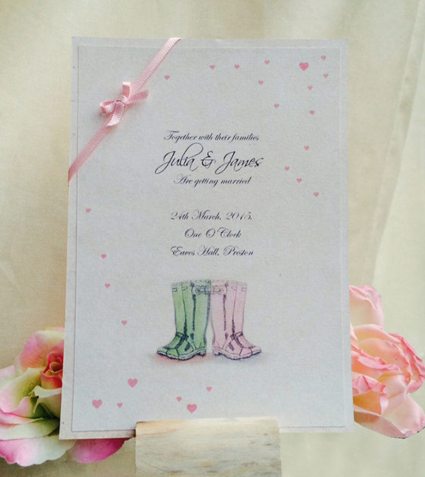 wellies wedding stationery http://www.thefrommshoppe.com/
