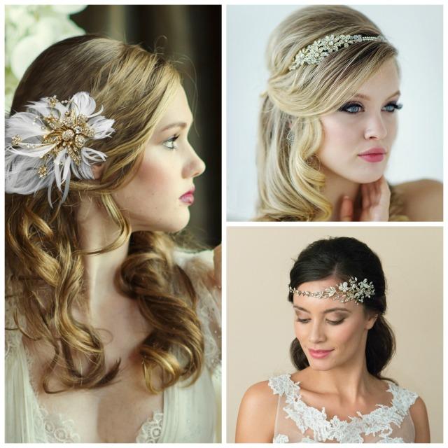 gold wedding hair accessories